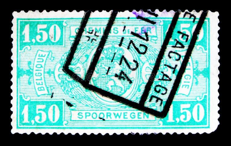铁路邮票:徽章,在长方形,第一个问题, se的价值 免版税库存照片