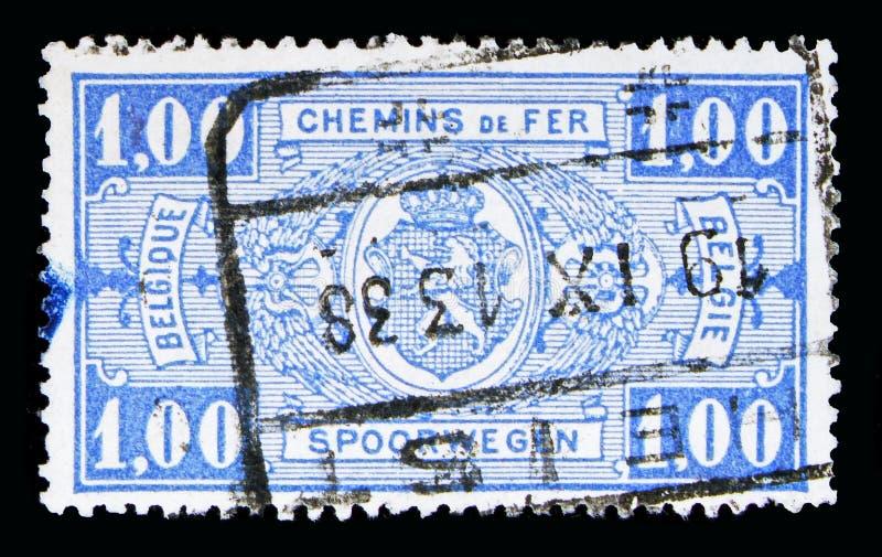 铁路邮票:徽章,在长方形,第一个问题, se的价值 库存照片