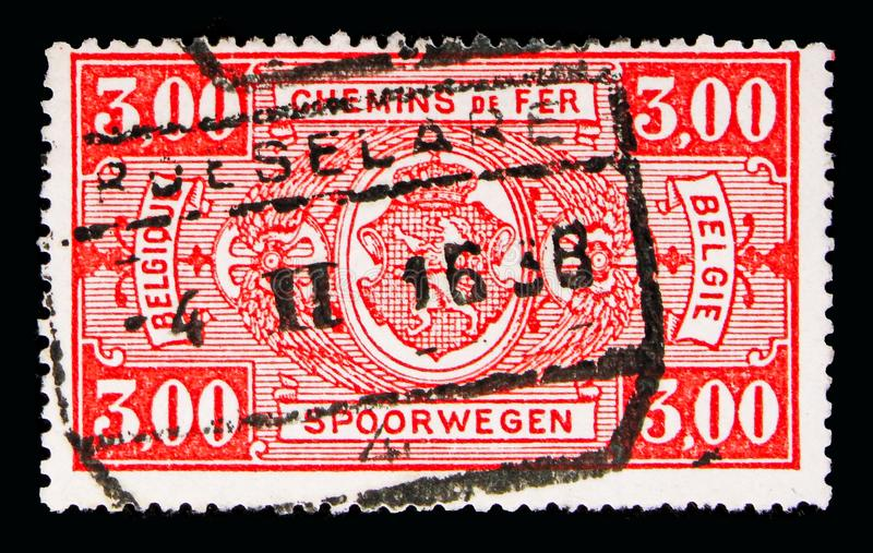 铁路邮票:徽章,在长方形,第一个问题, se的价值 库存图片