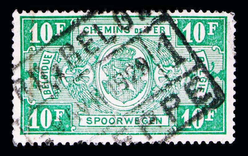 铁路邮票:徽章,在长方形,第二个问题, s的价值 图库摄影