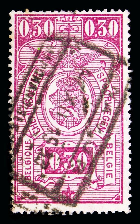 铁路邮票:徽章,在长方形,第二Issu, se的价值 免版税库存图片