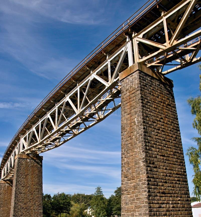 铁路钢桁架桥 图库摄影