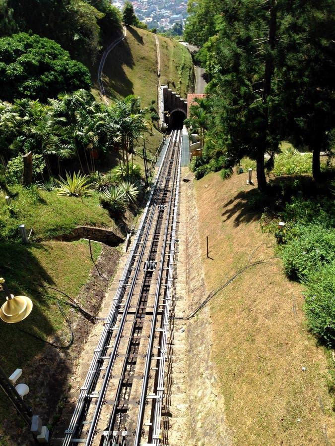 铁路,升旗山马来西亚 免版税库存图片