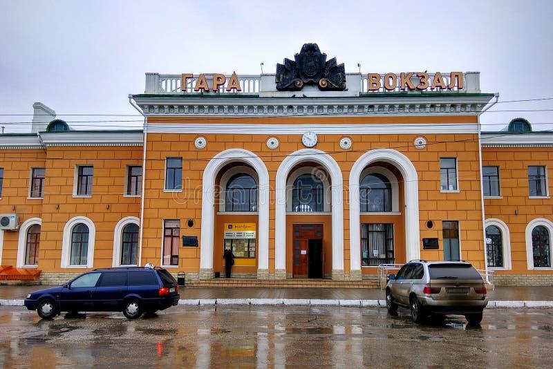 铁路statuib在蒂拉斯波尔,摩尔多瓦 库存照片
