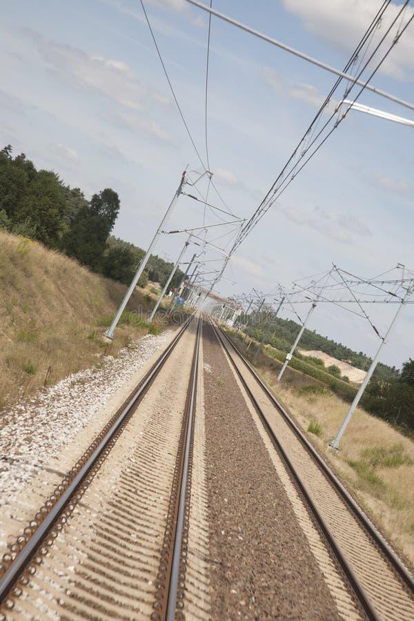铁轨在波兰 库存照片