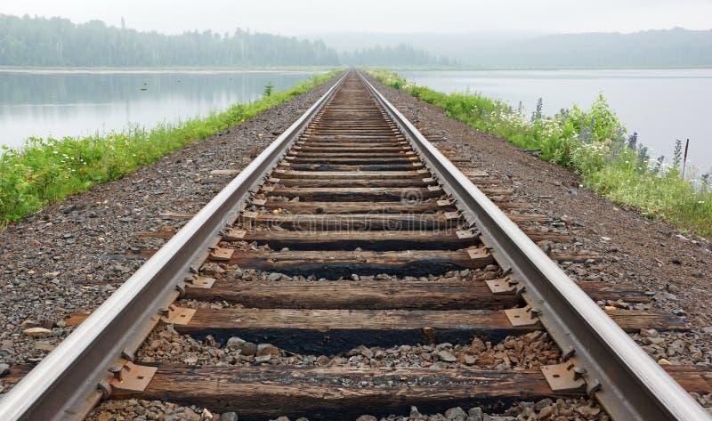 铁轨在薄雾消失 免版税库存照片