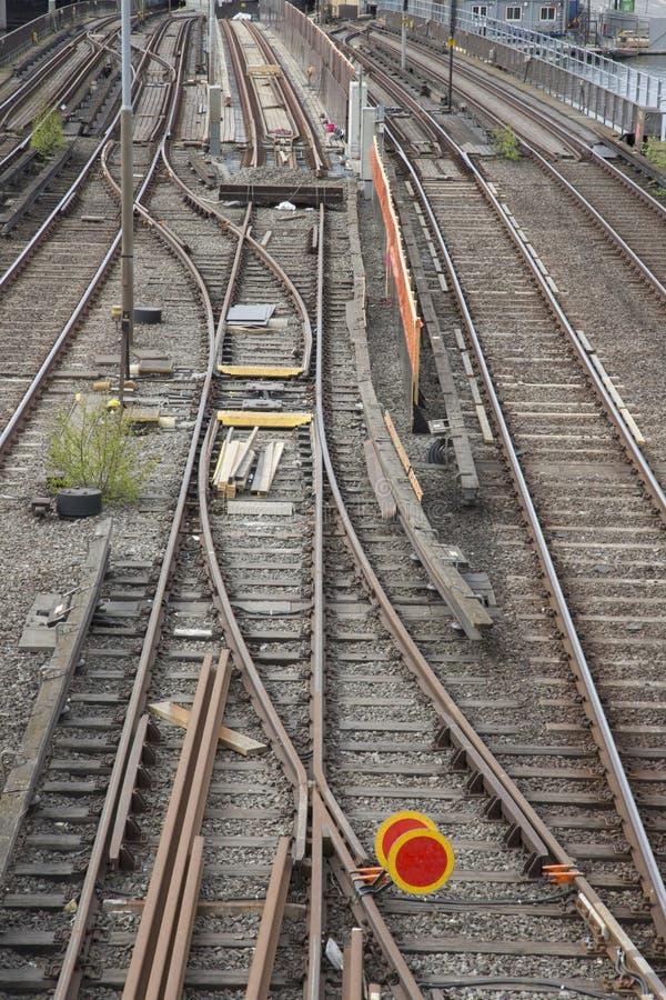 铁轨,中央桥梁;斯德哥尔摩 库存照片