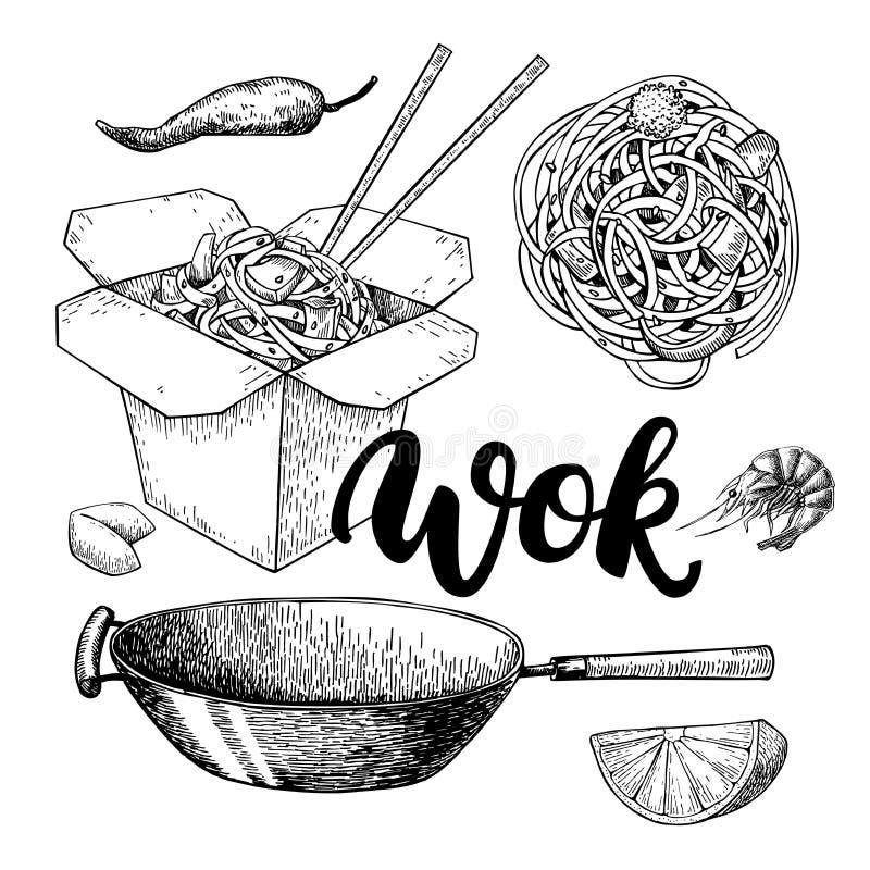 铁锅与字法的传染媒介图画 被隔绝的中国箱子,铁锅和 向量例证