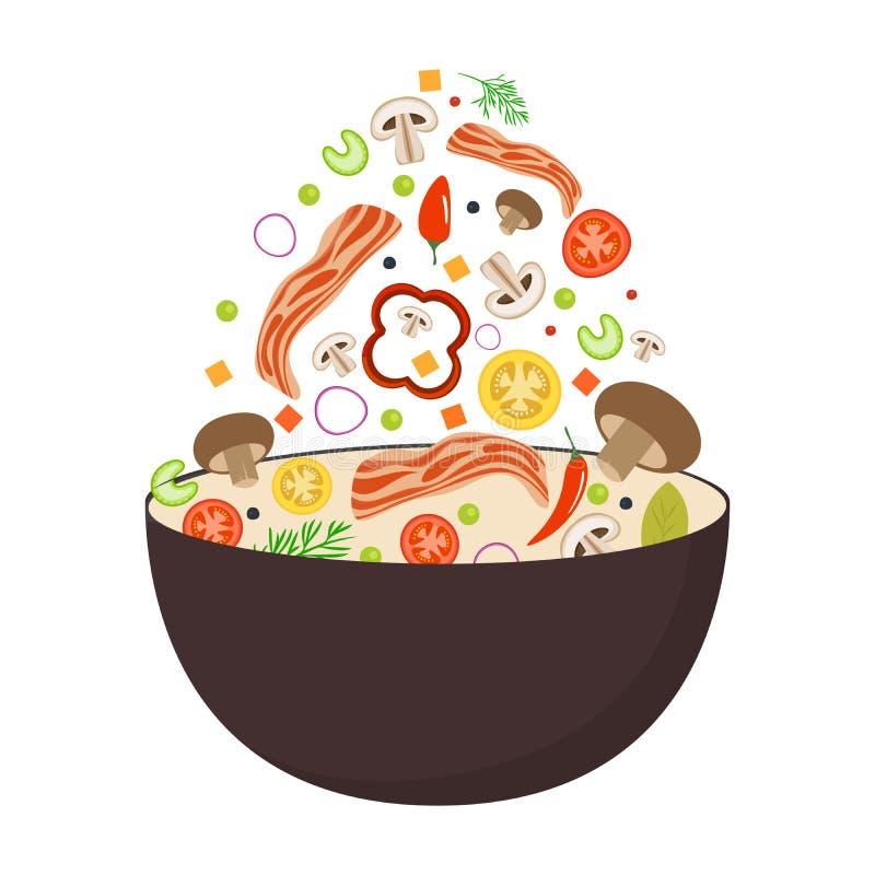 铁锅平底锅、蕃茄、辣椒粉、胡椒、蘑菇和烟肉 亚洲食物 飞行菜用猪肉烟肉 平的传染媒介 库存例证