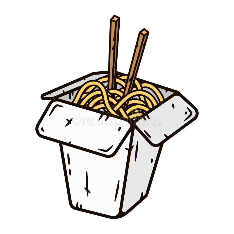 铁锅箱子用面条 在空白背景查出的向量例证 皇族释放例证