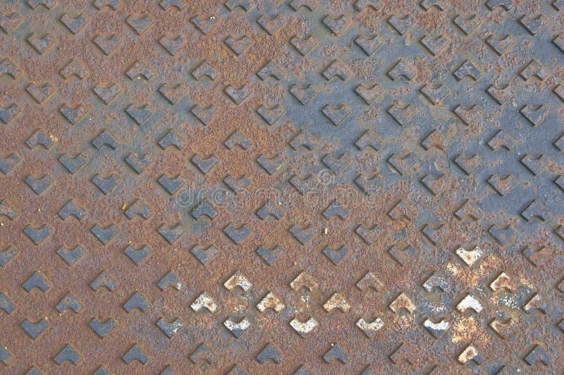 铁锈流失水金属盖子作为背景或纹理的 免版税图库摄影
