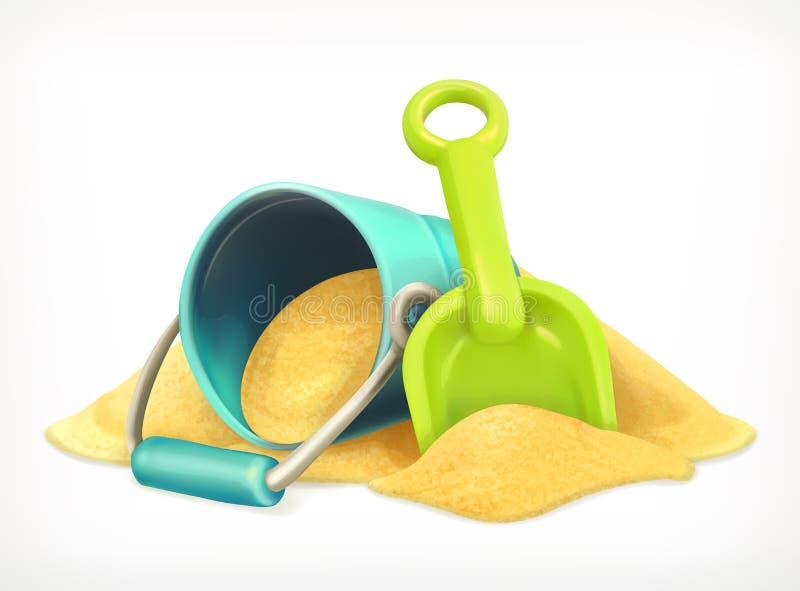铁锹和桶在沙子 库存例证