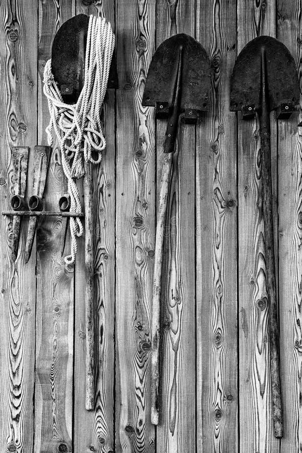 铁锹和采矿工具 免版税图库摄影