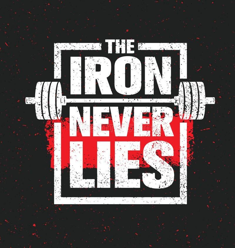 铁从未说谎 锻炼和健身健身房设计元素概念 创造性的体育习惯传染媒介标志 皇族释放例证