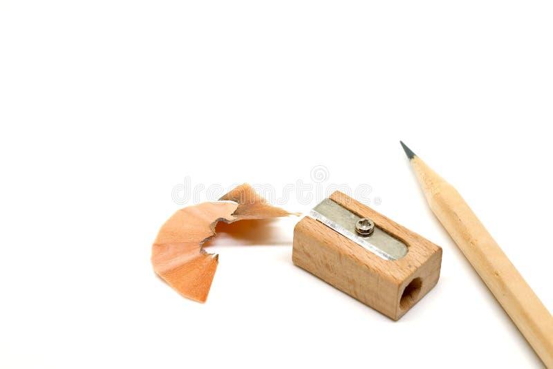铅笔、小块和磨削器 免版税图库摄影