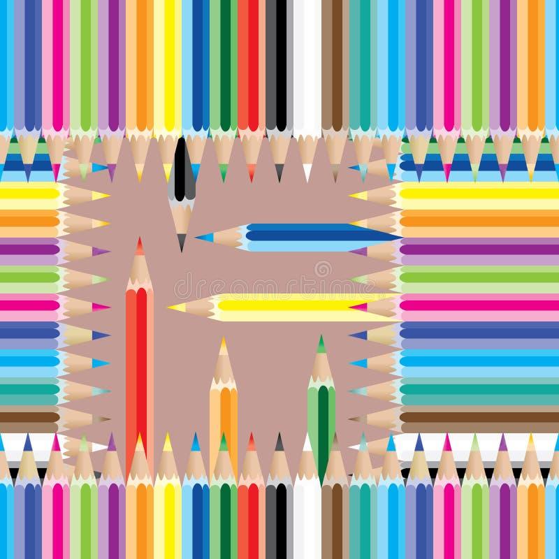 铅笔五颜六色的方形的无缝的样式 皇族释放例证
