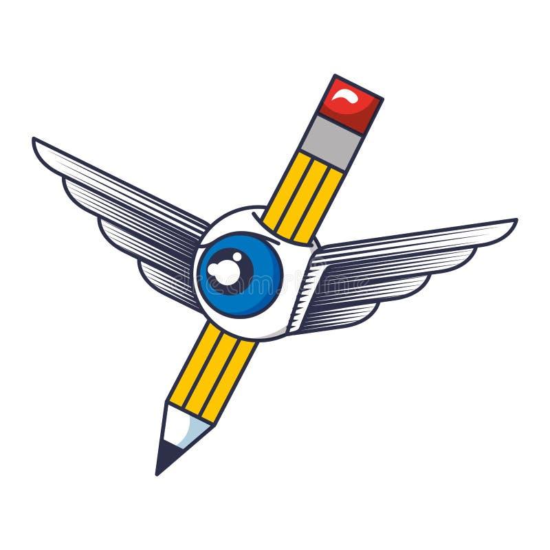铅笔写与翼和眼睛 库存例证