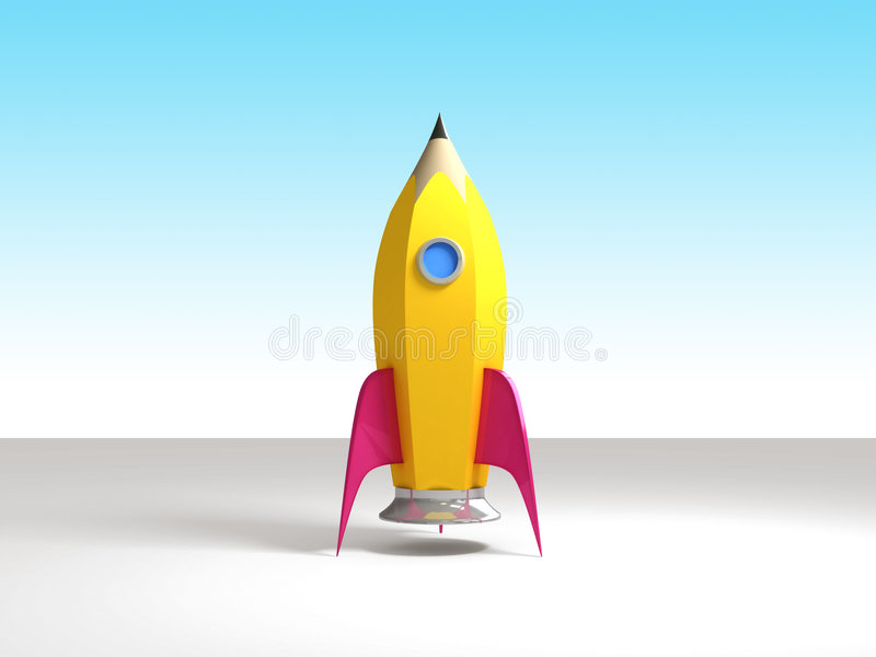 铅笔准备好的火箭 库存例证