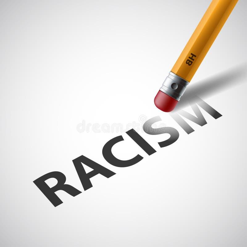 铅笔删掉词种族主义 反对歧视 储蓄vec 皇族释放例证