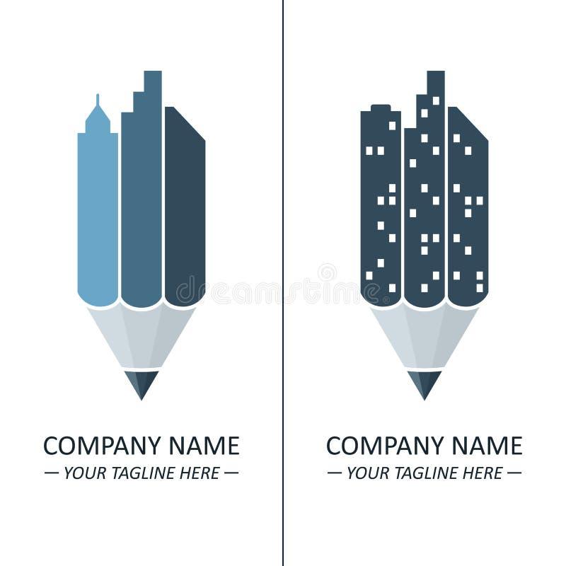 铅笔和城市地平线概念 免版税库存图片