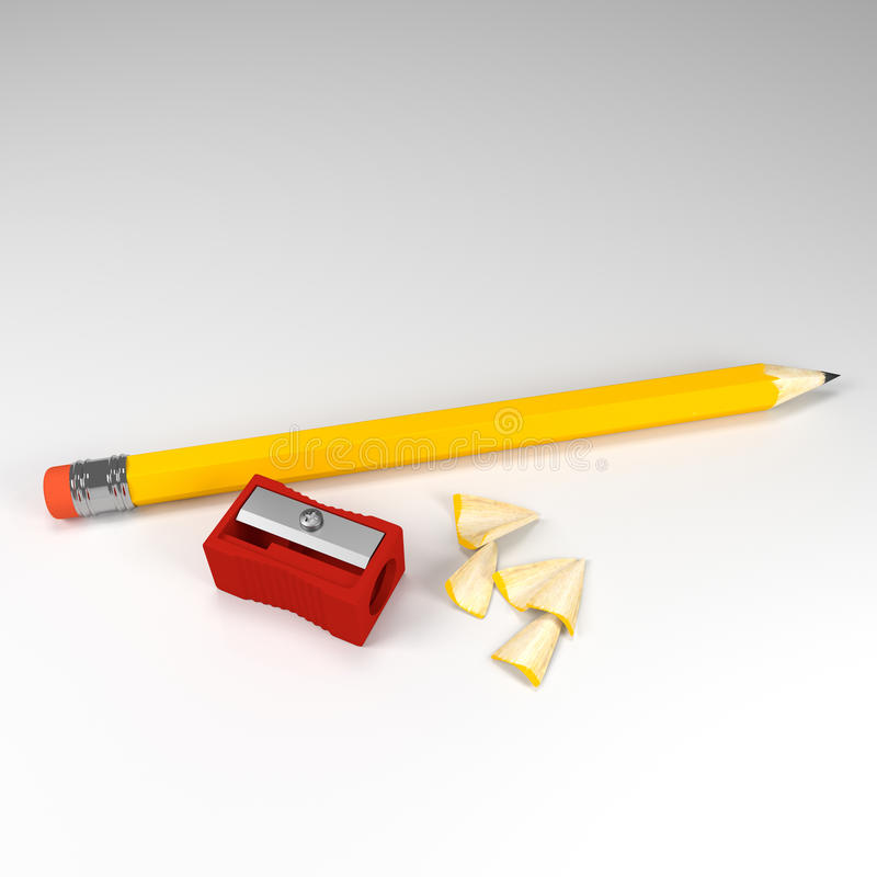 铅笔和磨削器 库存例证