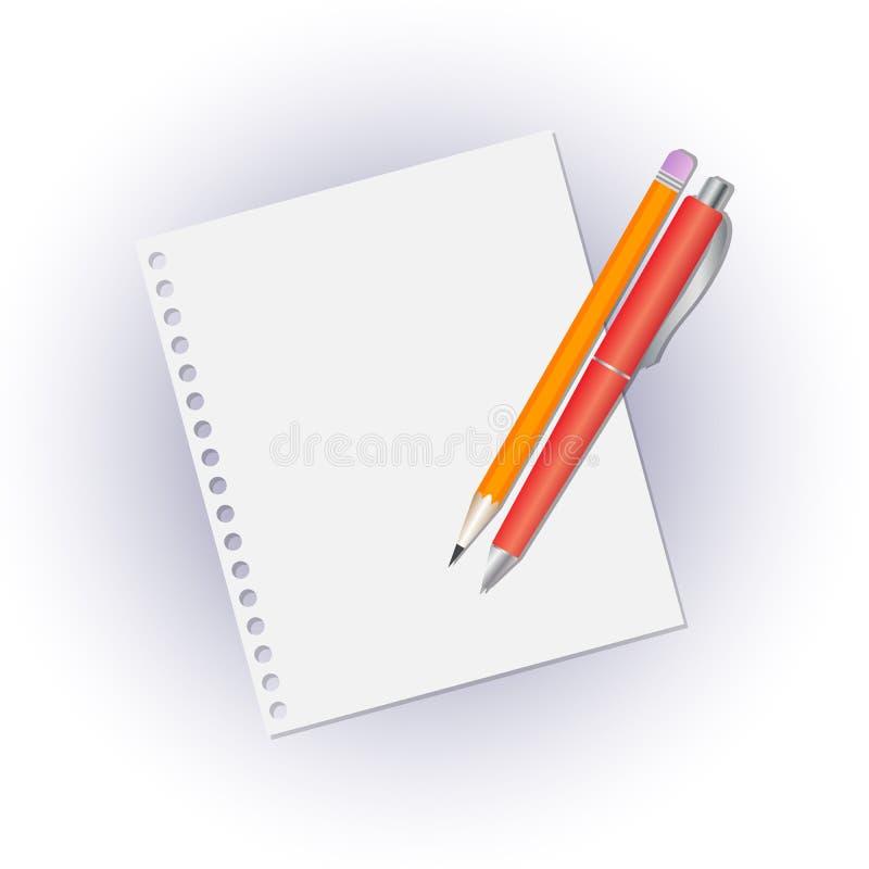 铅笔和笔在笔记本一个空白纸  皇族释放例证