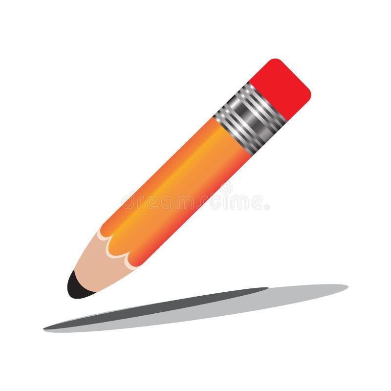铅笔和笔象 平的设计样式现代传染媒介例证 隔绝在时髦的颜色背景 平的长的阴影象 e 皇族释放例证