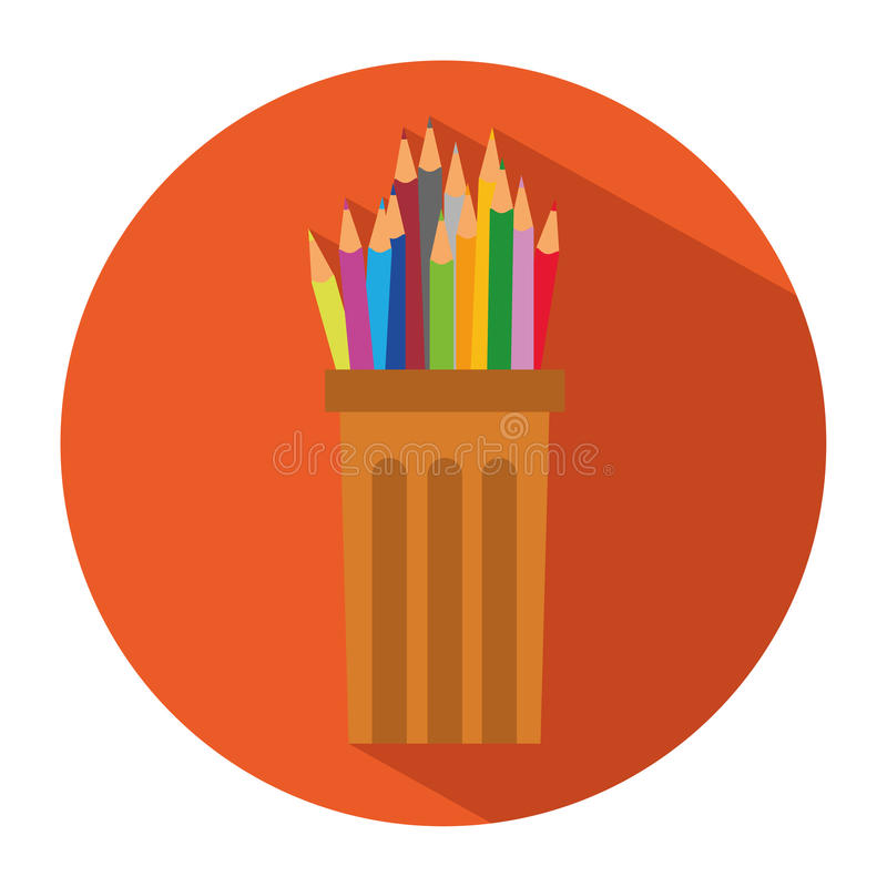 铅笔和色的铅笔象在塑料玻璃杯子在平的样式 向量例证
