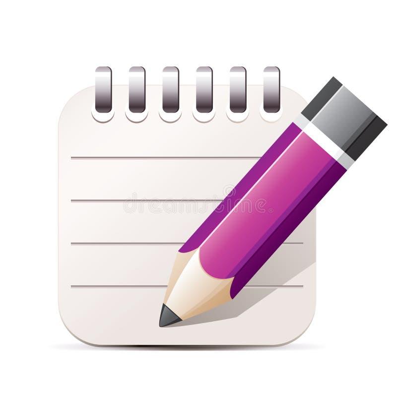 铅笔和记事本图标 皇族释放例证