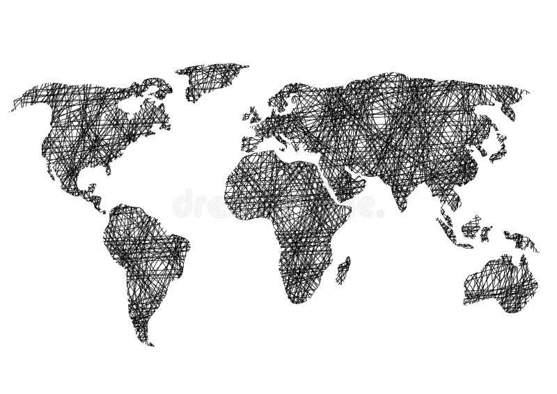 铅笔图剪影世界地图传染媒介例证 皇族释放例证
