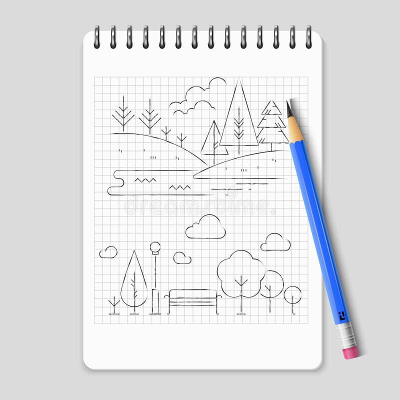 铅笔图自然风景概述传染媒介 库存例证