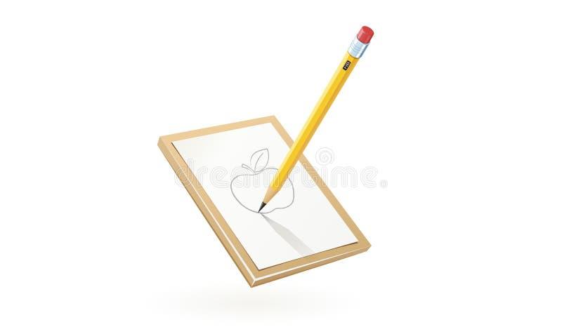 铅笔在白皮书的凹道苹果 库存例证