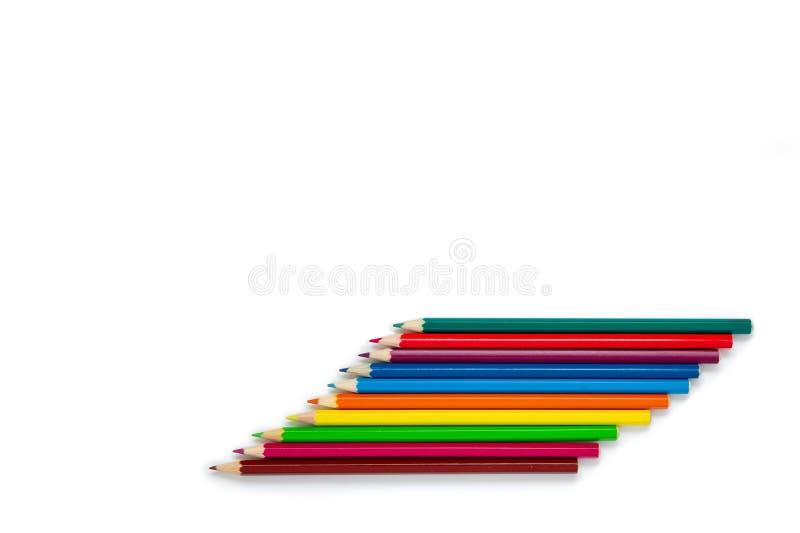 铅笔在白色背景,被隔绝的项目说谎 多彩多姿的铅笔 库存图片