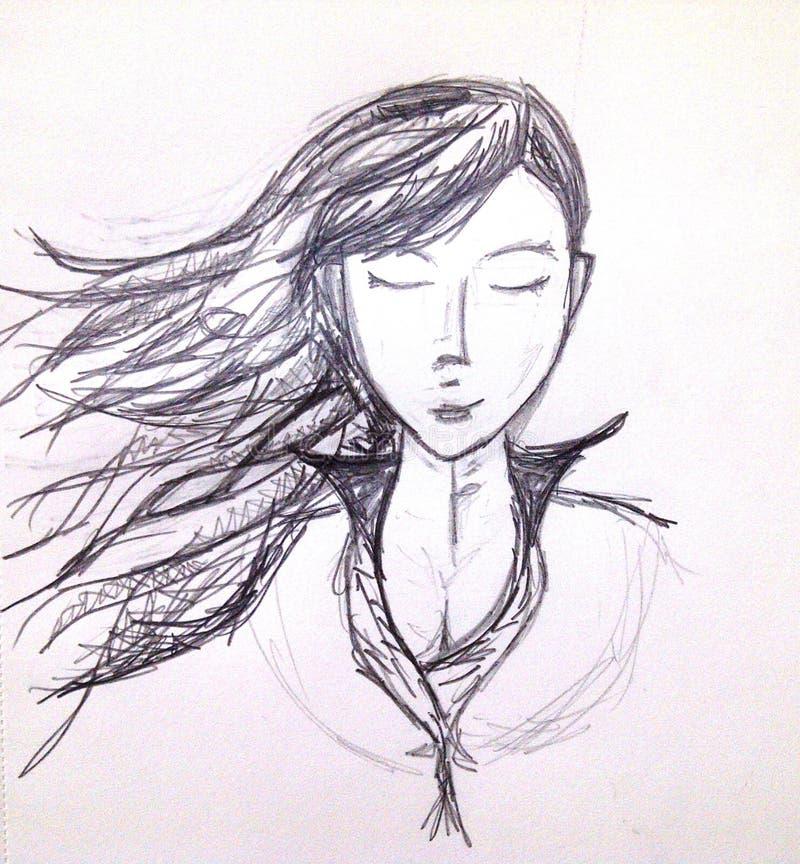 铅笔女孩 图库摄影