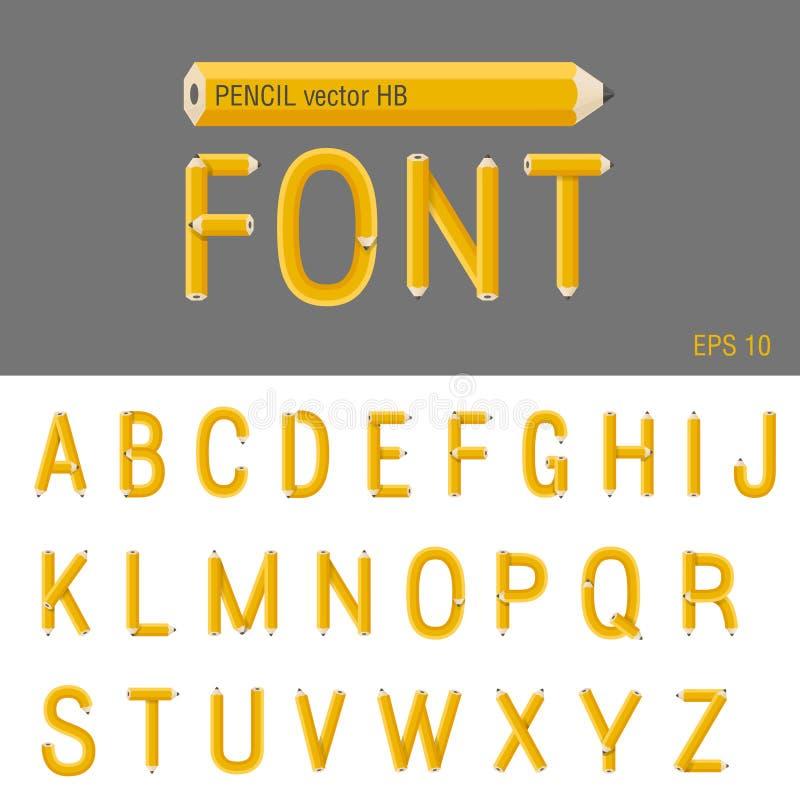 铅笔字体传染媒介。创造性的类型设计。Educatio 向量例证