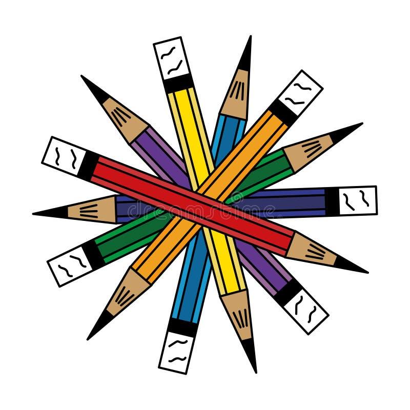 7铅笔安排在圈子 库存图片