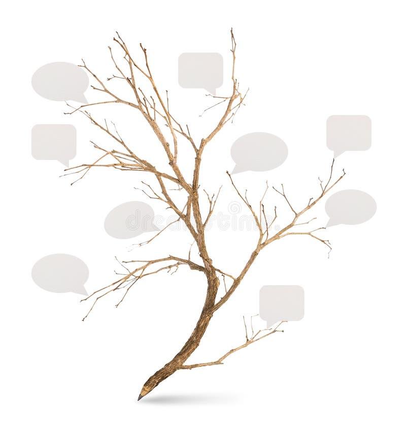 铅笔树型与纸讲话泡影 库存图片