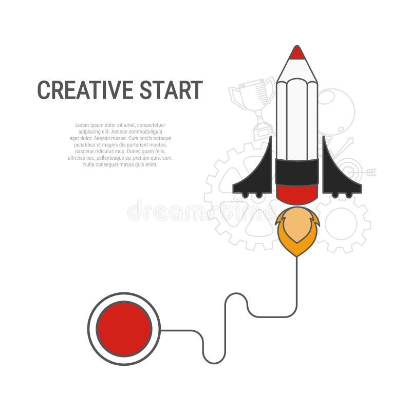 铅笔火箭平的样式 创造性的起动概念 皇族释放例证