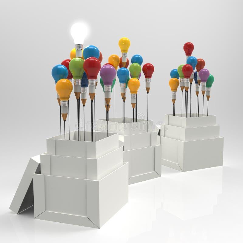 铅笔电灯泡3d认为在箱子外面 向量例证