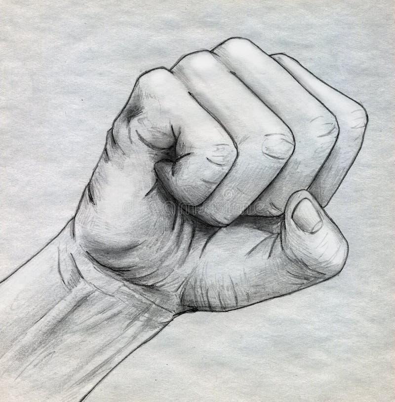 铅笔被画的被紧抓住的拳头 皇族释放例证