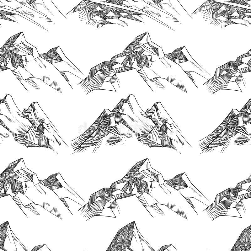 铅笔速写了山无缝的样式 库存例证