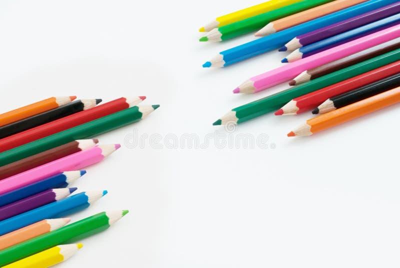 铅笔颜色艺术有白色背景 库存图片