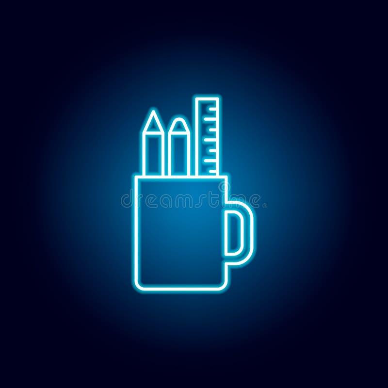 铅笔,杯子,统治者,案件在霓虹样式的概述象 教育例证线象的元素 标志,标志可以使用为 向量例证