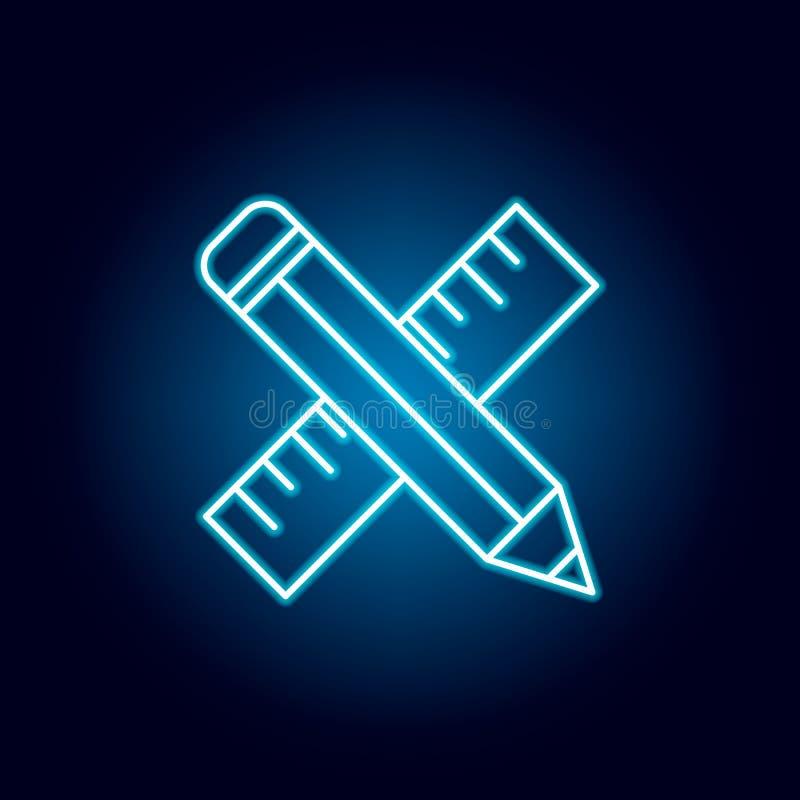 铅笔,统治者在霓虹样式的概述象 教育例证线象的元素 标志,标志可以为网,商标使用, 库存例证