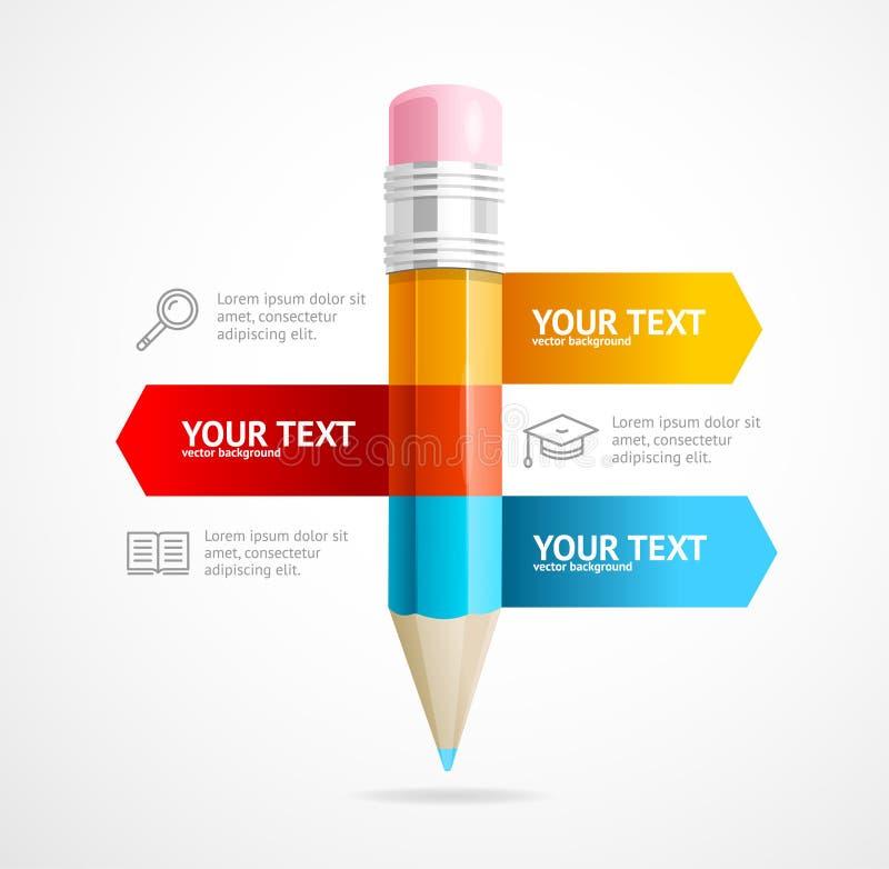 铅笔Infographic教育概念 向量 皇族释放例证