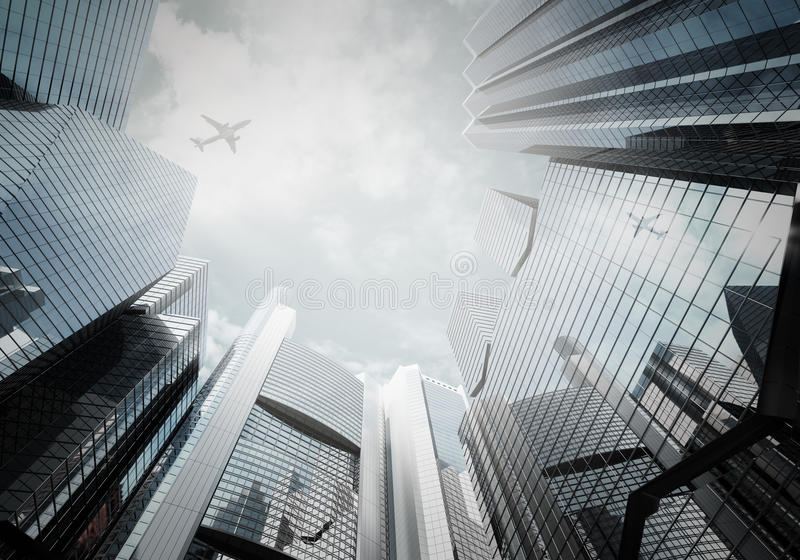 铈的全景都市风景现代高层建筑物全景 向量例证