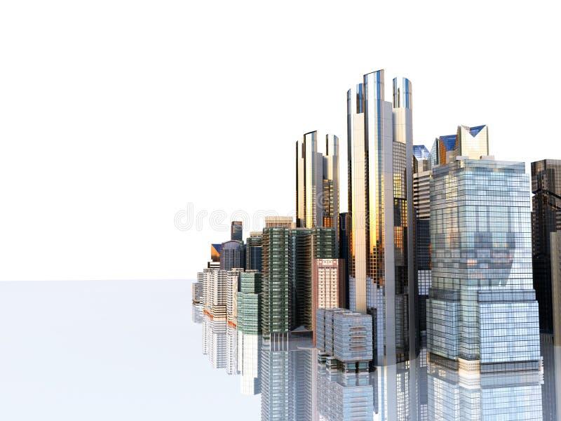 铈的全景都市风景现代高层建筑物全景 皇族释放例证