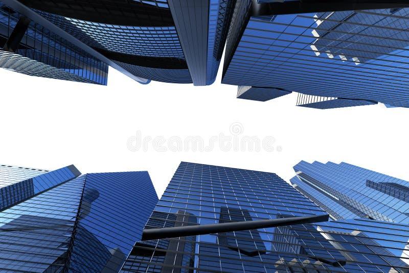 铈的全景都市风景现代高层建筑物全景 库存例证