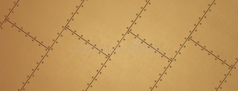 铜作为背景的被铆牢的板料 金属横幅 向量例证