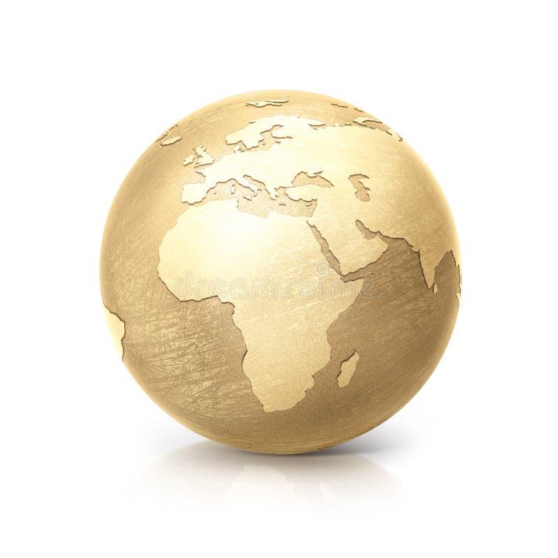 黄铜地球3D例证欧洲和非洲映射 向量例证